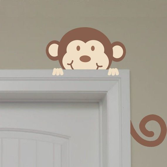 WANT!!! Very Cute Safari Peeking Monkey Wall Decal by onehipstickerchic, $17.95