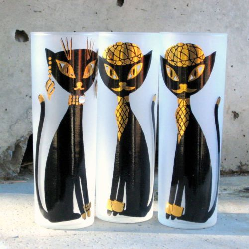 Vintage 50's Highball Glasses * Hep Cats * 1950 Beatnik Kitty Cat Cocktail Decor