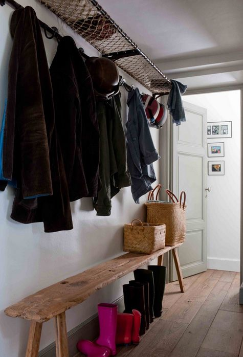 desire to inspire - Sarah Lavoine / / I like this look for a mudroom. especially the knotted shelf for hats and the rustic bench