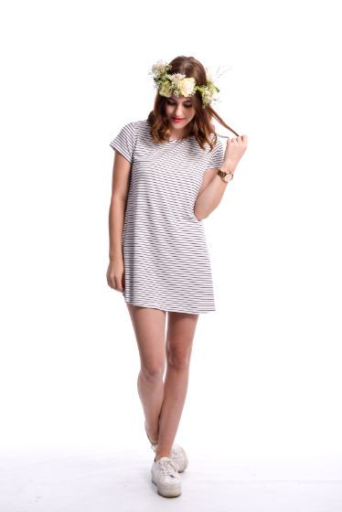 Rebecca Tee Dress ~ Stripe