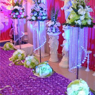 Wedding road lead crystal bead curtain wedding column 115cm 4pcs/lot