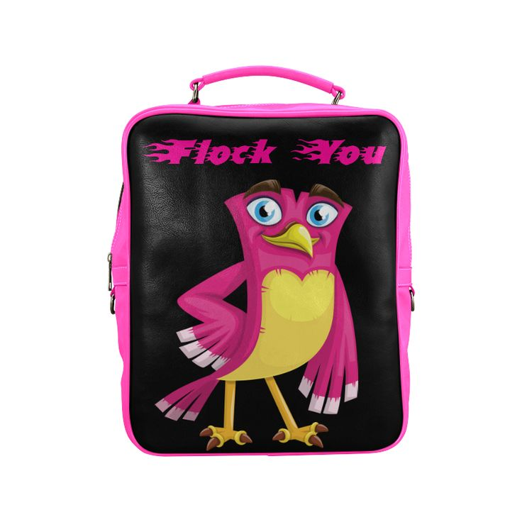 Pink cute funny cartoon bird saying flock you Square Backpack (Model1618)