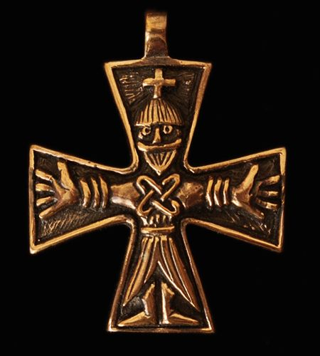"""bronze. AD7 - Germanic Cross Pendant  Crucifix combining Germanic and Byzantine forms, inspired by several 11th century Scandinavian finds. Length 38mm (1.5""""). Width 31mm (1.25""""). Thickness 2-3mm. Loop size 4mm   Bronze £45, US$55.92, €51.94    Silver £85, US$105.62, €98.12"""