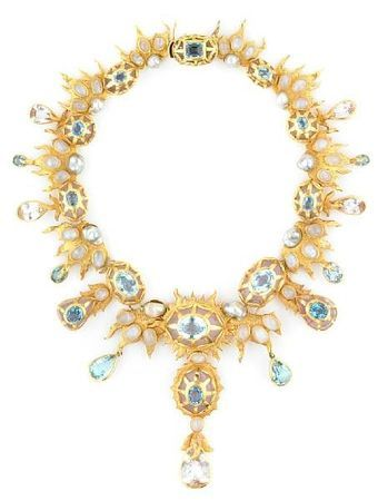 Tony Duquette (American, 1914-1999), 1990s. A blue topaz, kunzite, moonstone, colored pearl and vermeil necklace