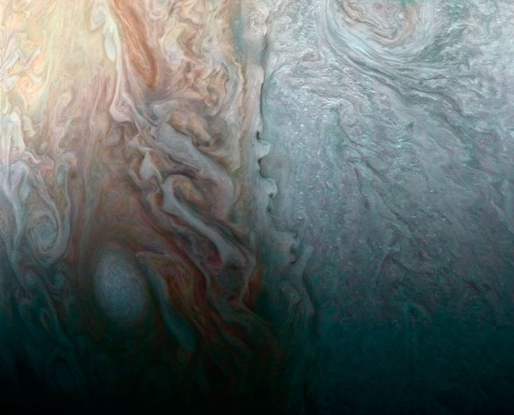 "NASA's Juno Spacecraft Image of When Jovian Light and Dark Collide 4/7/17 NASA's Juno Spacecraft reveals ""beauty and the beast"" in a recent flyby of Jupiter"
