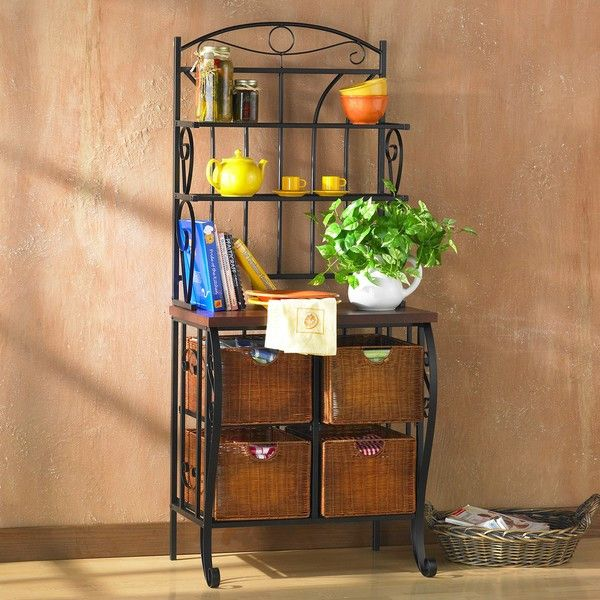 Enhance your kitchen or living room with this iron and wicker bakers rack. Featuring an arched top and crafted iron, this bakers rack's transitional style makes a perfect addition to traditional decor