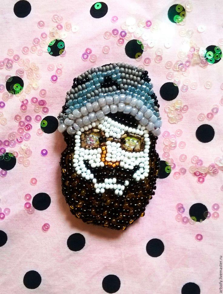 """Купить Брошь """"Борода"""" - белый, борода, бородач, мужчина, хипстер, брошь, брошь в подарок"""
