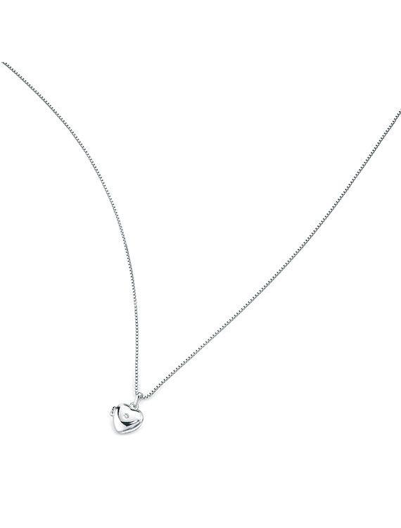 Child's Sterling Silver Diamond Heart Locket & Chain