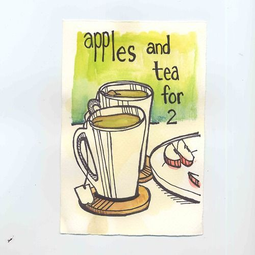Watercolor and Pen Illustration : Apples and Tea for 2 : By Amy Huber
