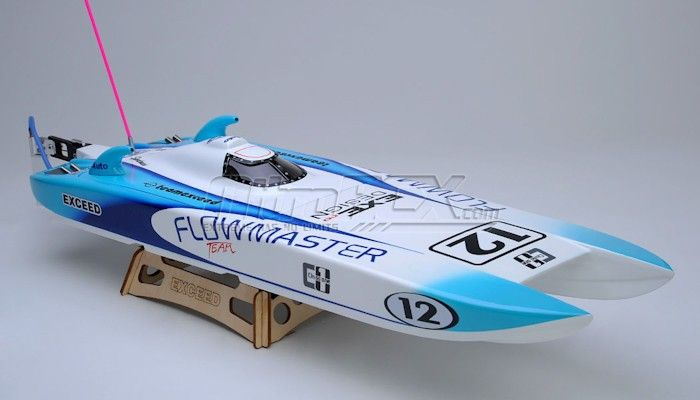 Exceed Racing Electric Powered Fiberglass Catamaran 650mm Brushless Almost Ready to Run RC Boat (ARTR)