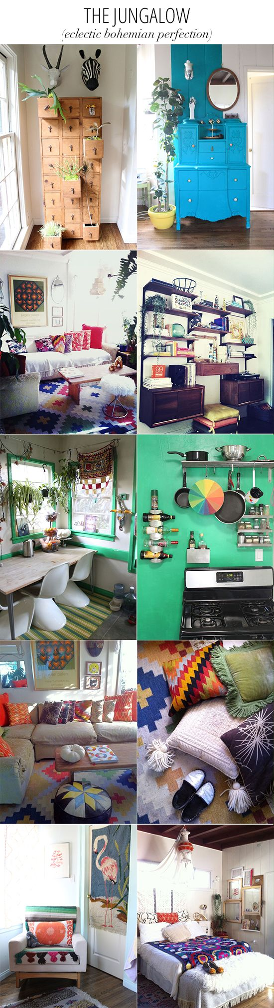 my Jungalow featured on Inspired to Share: Room Photos, Living Spaces, Colorme Rooms, Cool Ideas, Small Spaces, N Inside Spaces Living, Boho Kitchen Ideas, Justina Blakeney