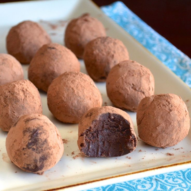 Dark Chocolate Avocado Truffles. We have been making her healthy fudge since I Pinned it weeks ago and everyone that tries it agrees that it tastes exactly like the best chocolate torte they have ever had. If these are anything close they will be amazing.