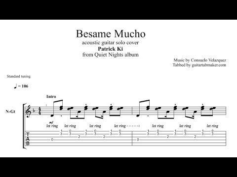 Besame Mucho instrumental guitar tab - pdf acoustic guitar sheet music - guitar pro tab download - instrumental acoustic guitar song