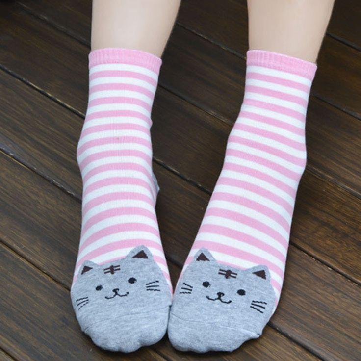 Pas cher 2016 haute qualité femmes 3D animaux chat empreintes 6 couleurs rayé bande dessinée chaussettes femmes coton à manches longues chaussettes pour dame fille Kid, Acheter  Chaussettes de qualité directement des fournisseurs de Chine:                3D animaux rayé de bande dessinée chaussettes femmes chat empreintes coton chaussettes de plancher