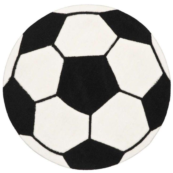 Vloerkleed Voetbal - wit/zwart | Leen Bakker