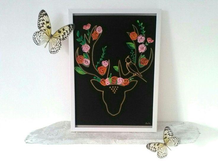Voici ce que je viens d'ajouter dans ma boutique #etsy: Dessin tête de cerf fleurie sur fond noir http://etsy.me/2jLY69K