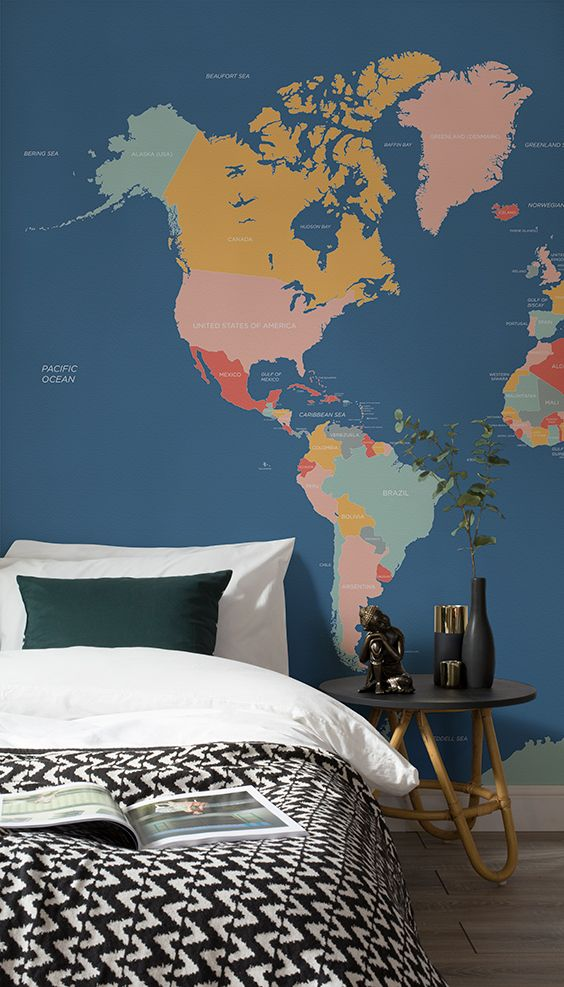 Explore and learn about the world with this beautiful map mural. Bright block colours contrast wonderfully against the sophisticated navy blue ocean. Ideal for modern living spaces as well as kid's bedrooms and playrooms.