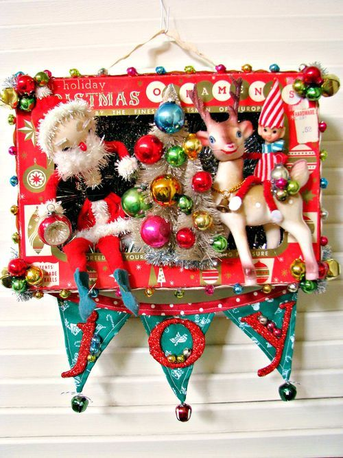 Suzy also makes the cutest shadow box ornaments from those sweet tiny vintage ornament boxes. Inspired by her creations, I made one of my own but used a large size vintage ornament box. A fun alternative or compliment to the wreath decorations you may have in your holiday decor!