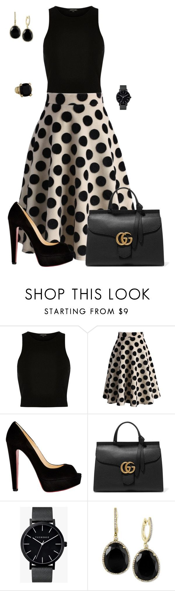 """""""Untitled #658"""" by angela-vitello on Polyvore featuring River Island, Chicwish, Christian Louboutin, Gucci, The Horse, Effy Jewelry, Judith Ripka, women's clothing, women's fashion and women"""