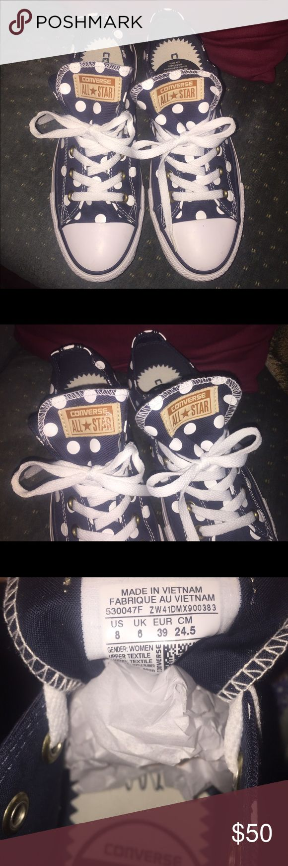 NWOT* CONVERSE* ALL STAR* navy/white sneakers sz8 Brand new! CONVERSE ALL STAR⭐️Navy & white polka dot canvas sneakers, Ladies size8.        No box. Adorable for summer!🌷 Converse Shoes Sneakers