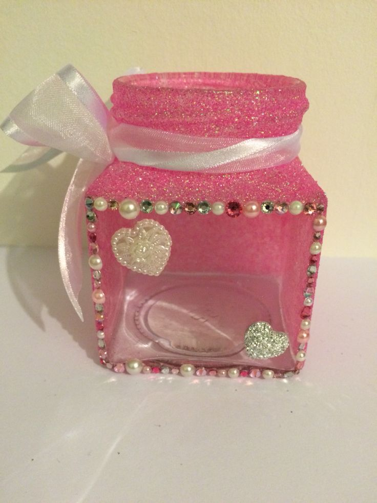 Pink glitter with embellishments. Clear front looks great with a candle 😊 #hickoryjars