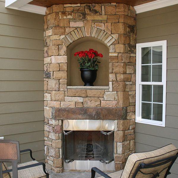 outdoor custom corner fireplace garden ideas