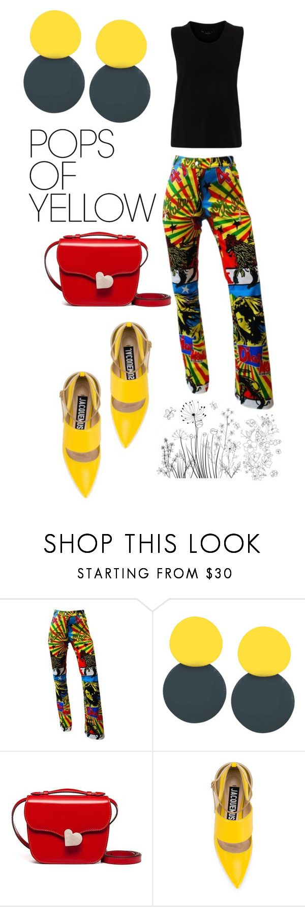 """""""Untitled #2892"""" by aqualyra ❤ liked on Polyvore featuring John Galliano, Marni, Jacquemus, PopsOfYellow and NYFWYellow"""
