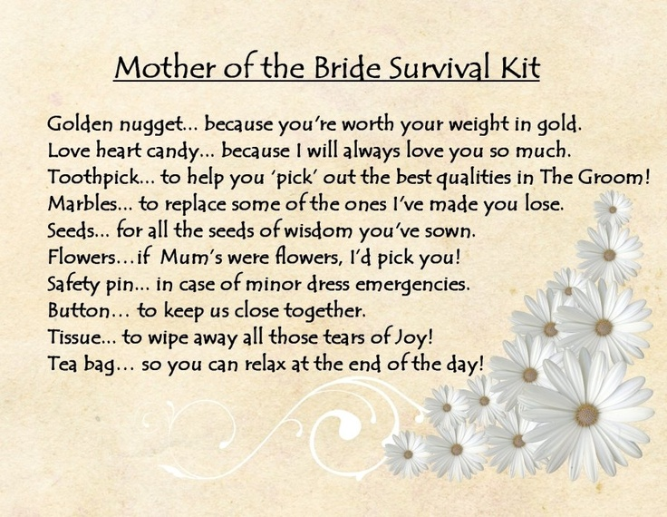 PERSONALISED MOTHER OF THE BRIDE SURVIVAL KIT GIFT CARD | eBay - great gift idea, put the survival kit in a Littles Carry-All Caddy monogrammed with Mom's initial
