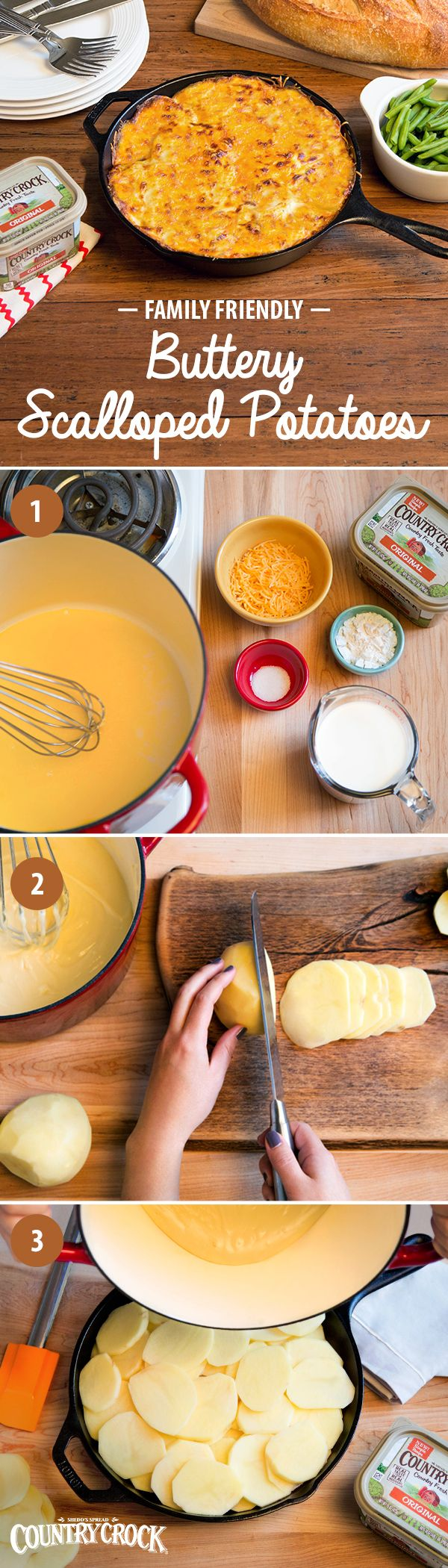Nothing keeps 'em coming back for seconds like a family favorite: homemade scalloped potatoes. Made with the country fresh taste and real, simple ingredients of Country Crock®, this winter staple will have picky eaters cleaning their plates! Melt spread, then whisk in flour, milk, salt & finally cheese before layering potatoes in a baking dish and topping with this delicious mixture. For a memorable meal, pair with a beautiful roasted chicken!