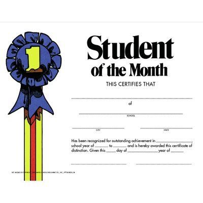 Hayes School Publishing Student of The Month Certificate