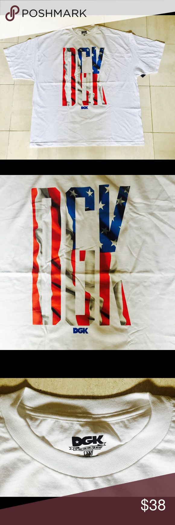DGK Banner T-Shirt - White DGK Banner T-Shirt - White: Fly your flag and represent America with this new Banner shirt from DGK. Made from 100% Cotton, classic fit, chest print art, imported, crew neck, like-new, never worn, and tagless collar for comfort. DGK Shirts Tees - Short Sleeve
