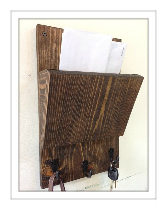 Rustic Wood Wall Mail Organizer And Key Rack Wall Mail Sorter And