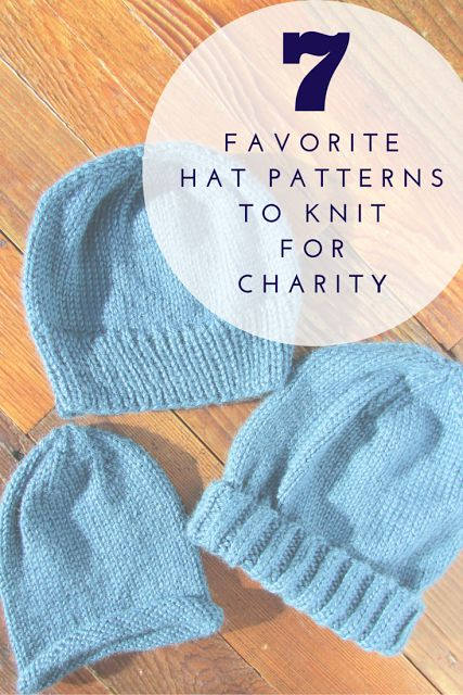 Seven favorite simple hat patterns to knit for charity.