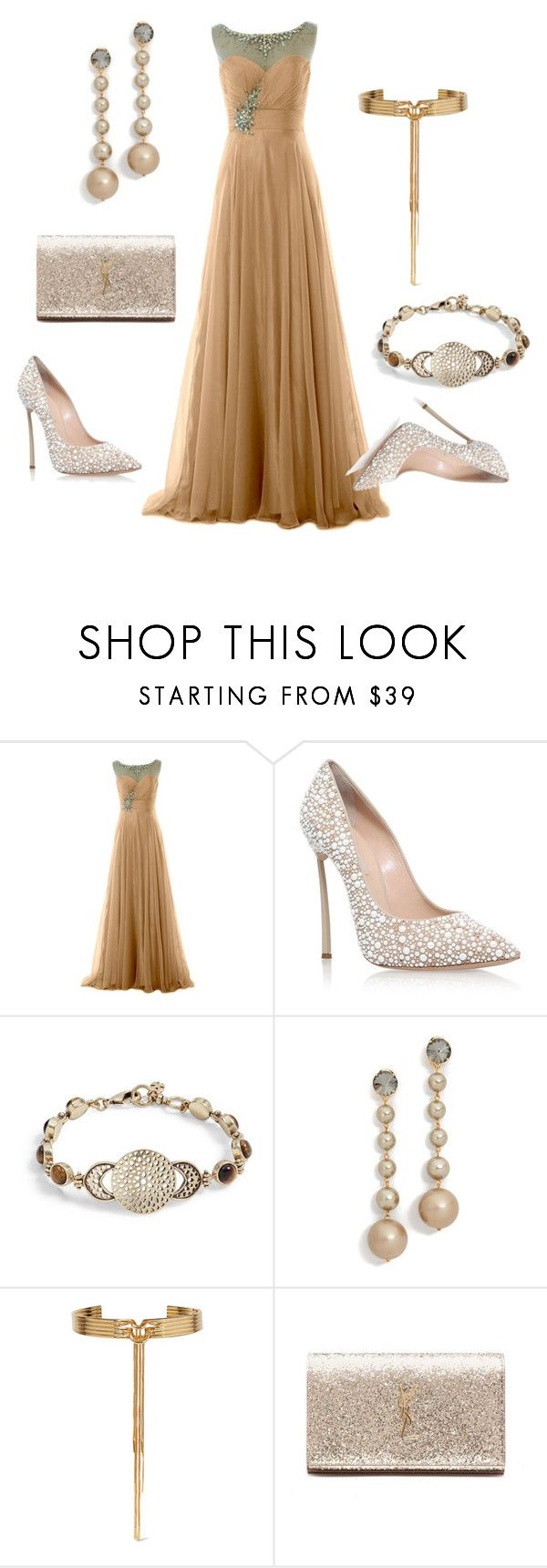 """""""Wedding Dress"""" by thefashionfunda ❤ liked on Polyvore featuring Casadei, Lucky Brand, Marni, Eddie Borgo and Yves Saint Laurent"""