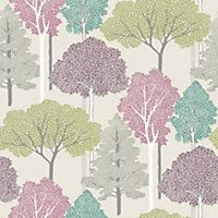 Ellwood Trees Multicoloured Wallpaper