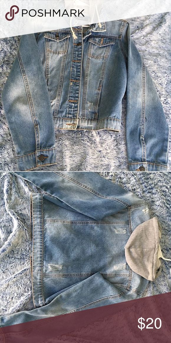 Hooded jean jacket Grey hoodie button up jean jacket very cute only worn once literally. Jackets & Coats Jean Jackets