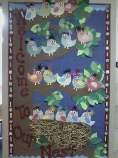 Back to school bulletin board welcome to our nest