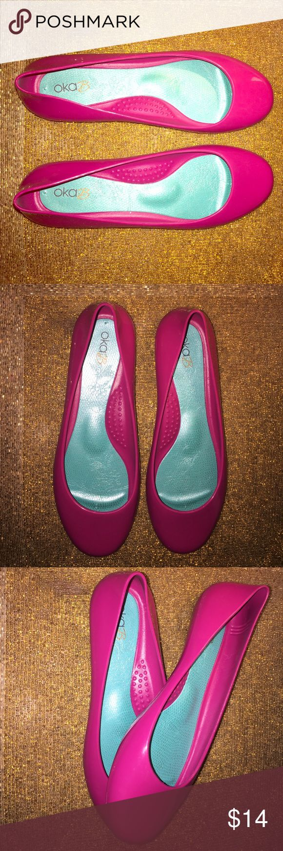 OKA B JELLY BALLET FLATS SIZE 6 NEW 💕 HOT PINK 💕 Ok, I am IN LOVE! 💕💕💕 This color is GORGEOUS 💕💕💕 A bright pink with purple undertone 💕💕💕 BRAND NEW SIZE 6 COMFORT ALL DAY LONG 💕💕💕 OKA b. Shoes Flats & Loafers