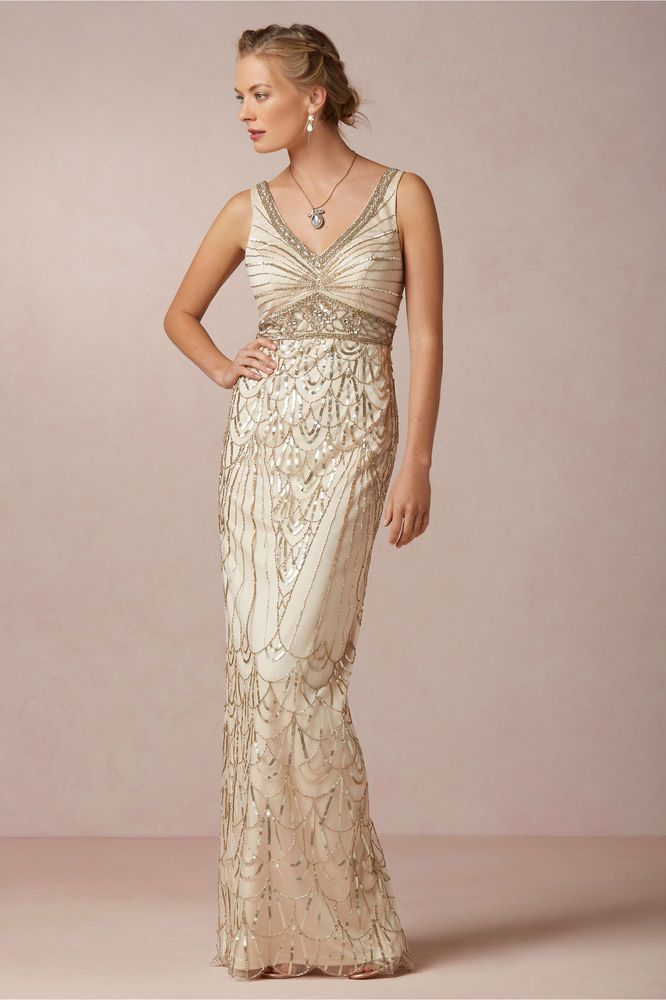 BHLDN Maxine Champagne Old Hollywood Gatsby Sue Wong Wedding Gown Dress, 0 or 6 #SueWong #Maxi #Formal