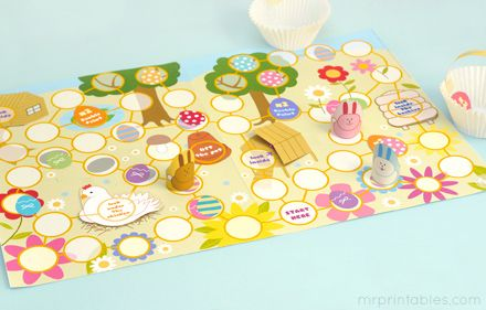 Lots of Printable board games from MrPrintables.com. I like this Easter Egg Hunt game