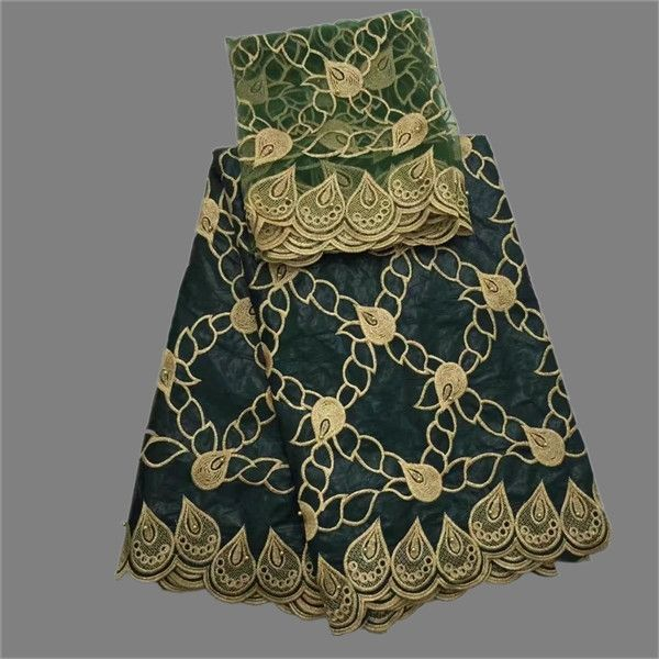 60.16$  Know more - Latest dark green 5yards African Bazin riche lace fabric with 2yards net blouse cloth for sewing dress set OBN16   #magazineonline