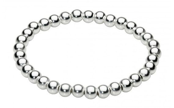 Dazzle and Plain Bead Silver Plated Bracelet by SilverButtercups