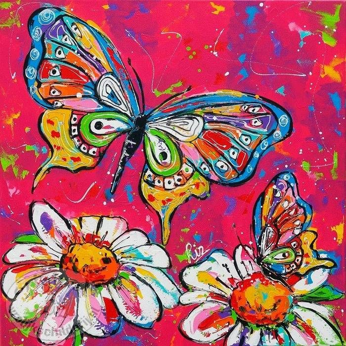 Butterfly with white flowers (SOLD)