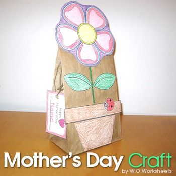 Mother's Day Craft - Paper Bag. Design your own potted flower gift bag using pattern and clip art. Great for talking home Mother's Day gifts or part of your plant unit. Use during indoor recess or art center.