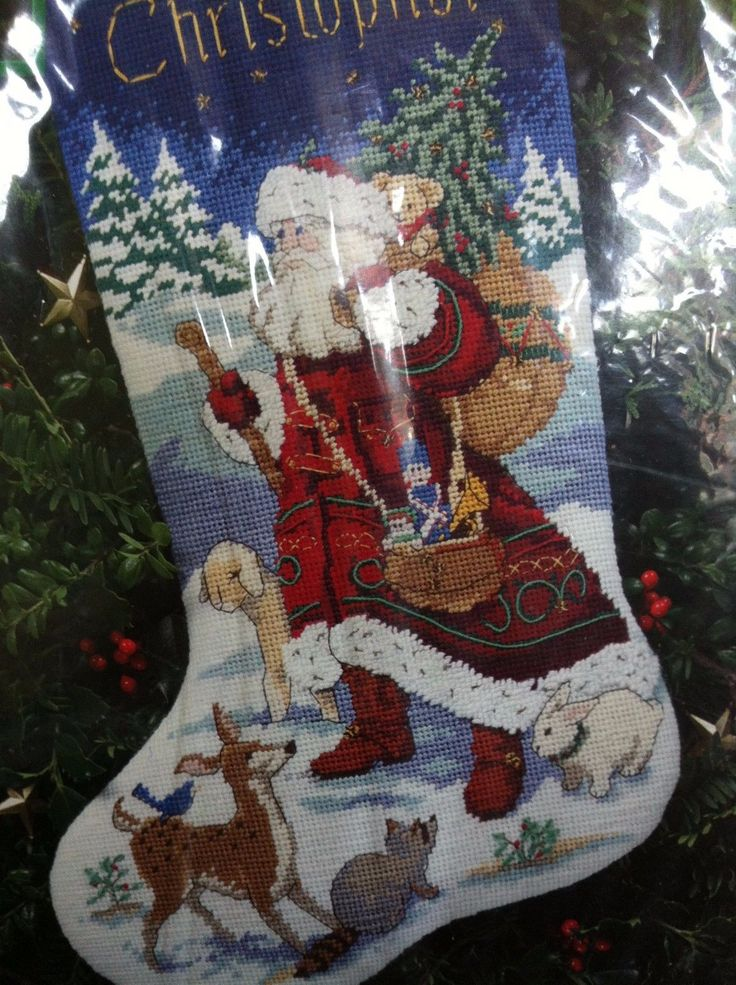 "Dimensions Christmas 16"" Needlepoint Stocking Kit Animal"
