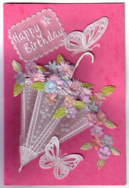 parchment umbrella birthday card