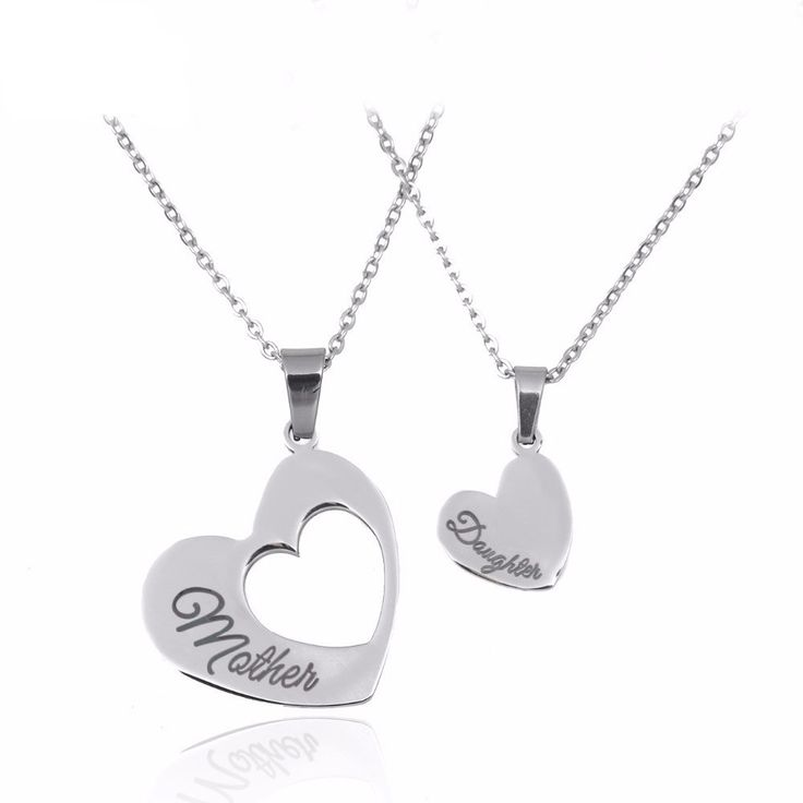 Mother & Daughter Heart Pendant Necklace