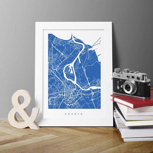 dodatki - plakaty, ilustracje, obrazy - grafiki i ilustracje-GDAŃSK - A3 - fragment mapy miasta
