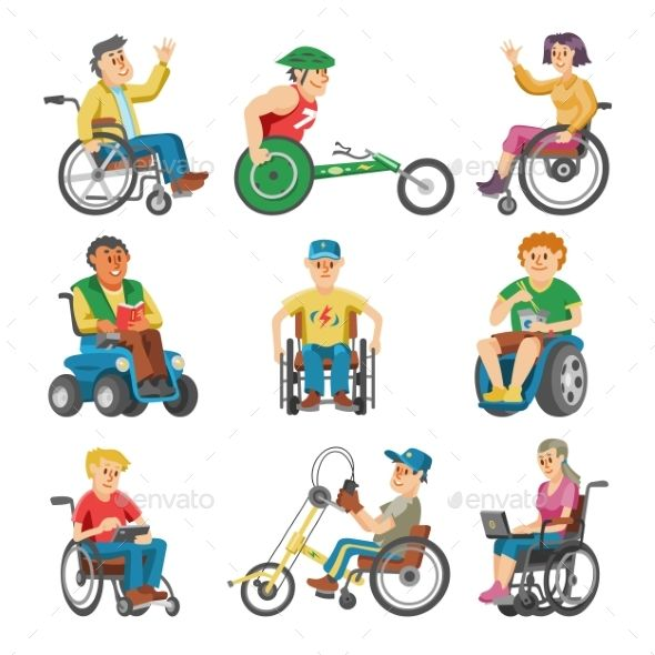 Disabled People In Wheelchair Vector Character Of