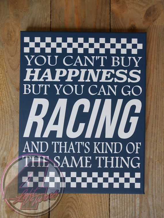 Happiness and Racing canvas from 4 Left Turns. #HandmadeInAmerica #Racing